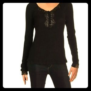 Free People size M black lace pullover top